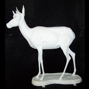 Pronghorn Antelope Doe Primed Fiberglass Sculpture Icon Poly