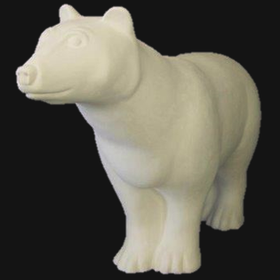Grizzly Bear Primed Fiberglass Sculpture Icon Poly