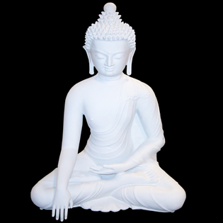 Meditating Buddha Primed Fiberglass Sculpture Icon Poly