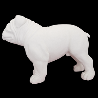 Standing Adult Bulldog Primed Fiberglass Sculpture Icon Poly