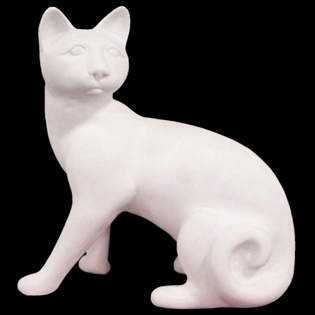 Sitting Housecat Primed Fiberglass Sculpture Icon Poly
