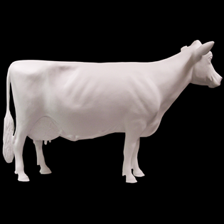 Cow Primed Fiberglass Sculpture Icon Poly