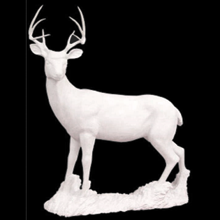 Buck Whitetail Deer Primed Fiberglass Sculpture Icon Poly