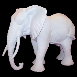 Elephant Primed Fiberglass Sculpture Icon Poly