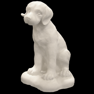 Sitting Puppy Primed Fiberglass Sculpture Icon Poly