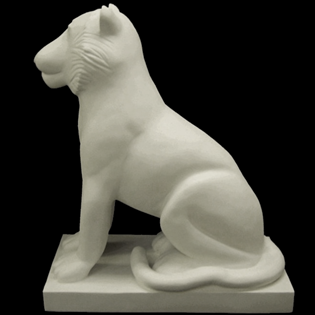 Sitting Tiger Primed Fiberglass Sculpture Icon Poly