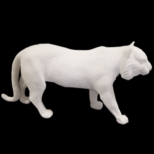Walikng Tiger Primed Fiberglass Scuplture Icon Poly