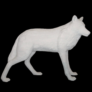 Wolf Primed Fiberglass Sculpture Icon Poly